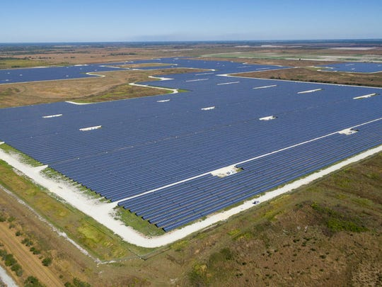 Aerial drone photo of the Citrus Solar Energy Center in Arcadia, Fla., on Feb. 10, 2017.