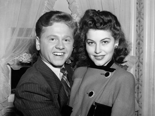 In this Jan. 5, 1942 file photo, Mickey Rooney, 21, Movieland's No. 1 box office star, and Ava Gardner, 19, of Wilson, N.C., pose together in Santa Barbara, Calif., shortly after the couple applied for a marriage license.