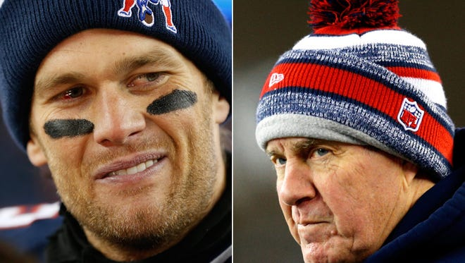 New England Patriots quarterback Tom Brady (left) and coach Bill Belichick.