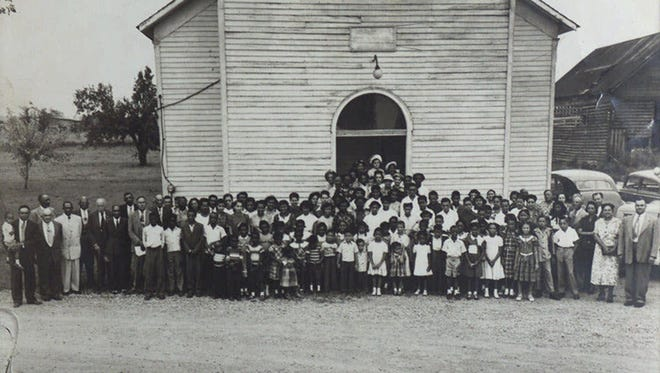 A typical Sunday in 1951 at Wayman Chapel, Lyles Station, Ind.,