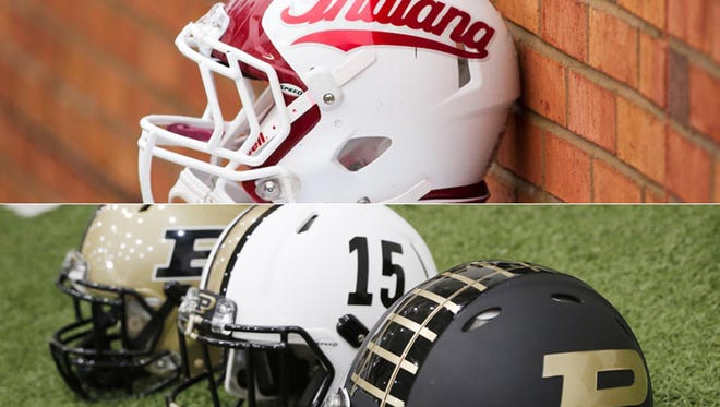 Indiana, Purdue football helmets
