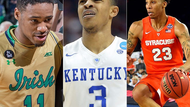 Whom will the Paces draft with No. 20 overall pick? Will it be Notre Dame's Demetrius Jackson (from left), Kentucky's Tyler Ulis, Syracuse's Malachi Richardson or someone else?