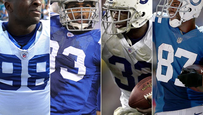 Will Robert Mathis (from left), Dwight Freeney, Edgerrin James and/or Reggie Wayne join Marvin Harrison and Tony Dungy in the Pro Football Hall of Fame?