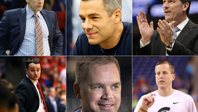 Top row, left to right: Billy Donovan, Tony Bennett and Steve Alford. Bottom row, left to right: Archie Miller, Chris Holtmann and Dane Fife.