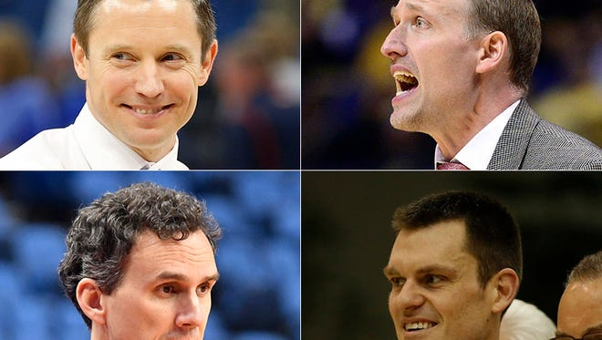 Off the wall IU coaching candidates: Mike White (top left), Dan Muller (top right), Mitch Henderson (bottom left) and Greg Tonagel (bottom right).