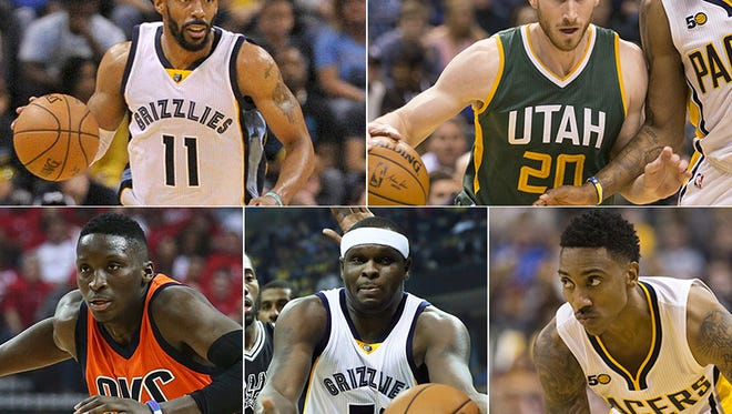 The best players with strong Indiana links in the NBA for 2016-17 were (clockwise from top left) Mike Conley (Lawrence North), Gordon Hayward (Brownsburg, Butler), Jeff Teague (Pike), Zach Randolph (Marion), Victor Oladipo (IU).