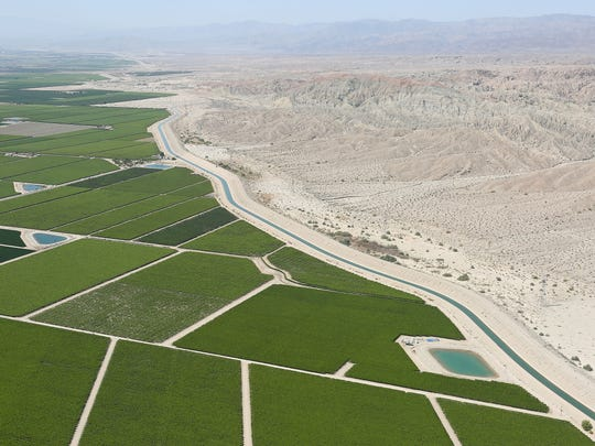 The Coachella Canal, a branch of the All-American Canal, carries water from the Colorado River to Coachella Valley farms.