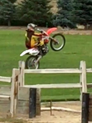 A dirt biker is seen riding at Gator Swamp Park in Spanish Springs, causing damage to the park's turf. Washoe County deputies are searching for four bikers who violated county codes on property damage and off-roading.