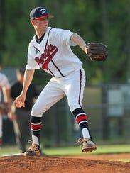 Powdersville sophomore Bobby Olsen (4) throws against