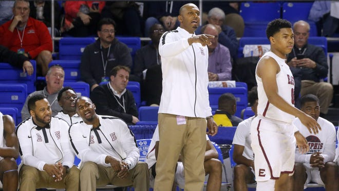 """Memphis East's head coach Anfernee """"Penny"""" Hardaway coaches from the sidelines during the game against Blackman in the quarterfinals of the TSSAA Boys State Basketball Tournament on Wednesday, March 14, 2018, at MTSU."""