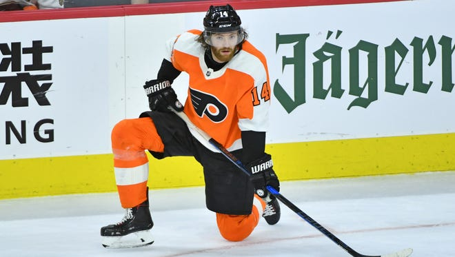 The Flyers' No. 1 center was first injured in a practice during the team's playoff series with the Pittsburgh Penguins.