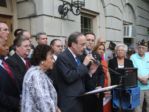 Congressman Eliot Engel speaks to the gathering on the front steps of White Plains City Hall during a Support Israel rally July 17, 2014. The event was sponsored by a bipartisan gathering of Westchester elected officials.