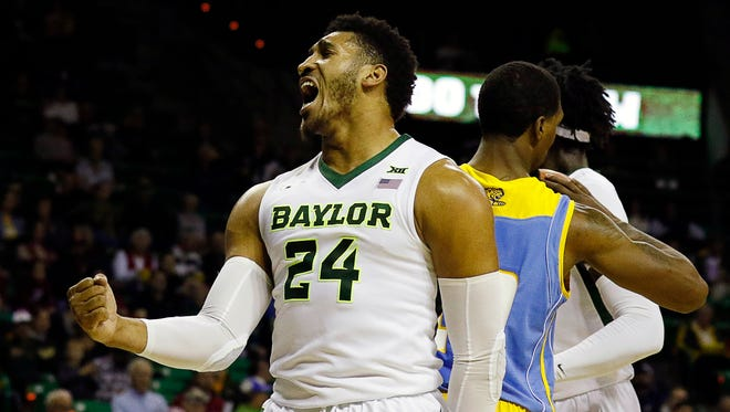 Baylor guard Ishmail Wainright reacts after a basket during the first half at Ferrell Center.