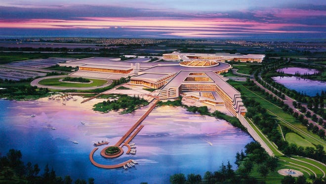 This artist's rendering provided by The Menominee Nation shows the tribe's proposed casino at the site of the former Dairyland Greyhound Dog Track in Kenosha.