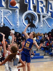 Philo's Destiny Hutcheson take a shot in the first half during the District 12 All-Star game at Buckeye Trail High School. Hutcheson scored 24 points in the West squad's 121-50 victory. She will play in the Ohio North-South All-Star game on Friday at Denison.