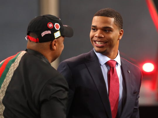 Miles Bridges reacts after being drafted 12th overall by the Los Angeles Clippers during the 2018 NBA Draft at the Barclays Center on June 21, 2018 in the Brooklyn borough of New York City.