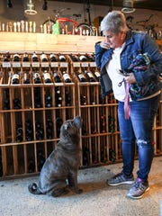 Bo Greene of Greer looks at her dog Luna, sitting for her, at The Community Tap near downtown Greenville on Friday.