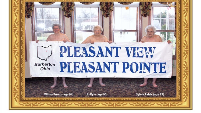 In this undated image provided by Pleasant Pointe Assisted Living, residents, from left, Wilma Purvis, 94, Jo Pyle, 90, and Sylvia Palcic, 87, pose for a photo that appears on the cover of the Barberton, Ohio facility's charity calendar. Money from the $12 calendars goes toward providing shoes for local children. (AP Photo/Pleasant Pointe Assisted Living)