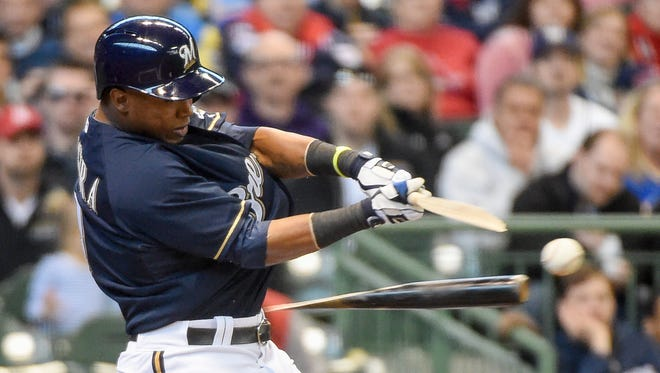 Milwaukee Brewers shortstop Jean Segura sustained an apparent head injury after being accidentally hit by a bat.