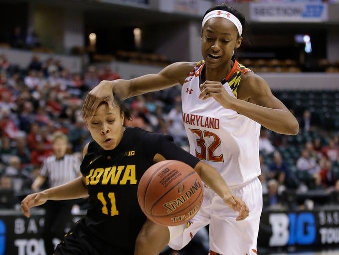 Iowa's Tania Davis (11) and Maryland's Shatori Walker-Kimbrough