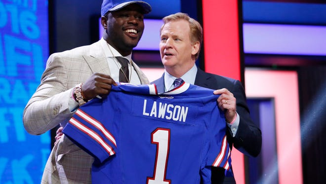 Shaq Lawson (Clemson) with NFL commissioner Roger Goodell after being selected by the Bills with the 19th pick last year.