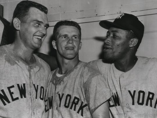 New York Yankees teammates Don Larsen (left), Milwaukee