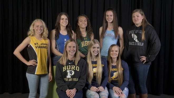 The 2016 Asbury Park Press All-Shore Girls Indoor Track Team of: (standing) Monica Heil, Keira Yonclas, Abby Collins, Ciara Roche and Alyssa Wilson; (seated) Katie Bragen, Kelli Buell and Lyneea Forlenza. Not pictured is Shannon Lytle, Sabrina Woodlee, Morgan Koeppen and Elizabeth Chartier.