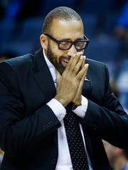 Memphis Grizzlies head David Fizdale reacts to an officials