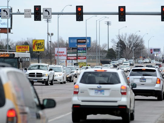 The intersection of 41st Street and Louise Avenue on Wednesday, March 18, 2015, in Sioux Falls, S.D. 64 crashes, 12 injuries since Jan. 2013. Heavy traffic congestion, much of it from drivers heading to or from the nearby Interstate 29 access, leads to lots of rear-end crashes.