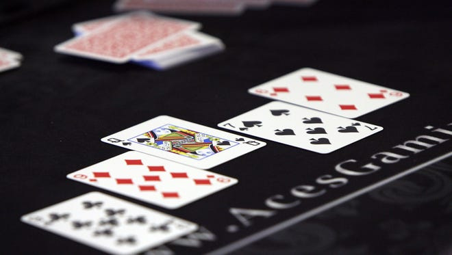 Detail of a game of Texas hold 'em.