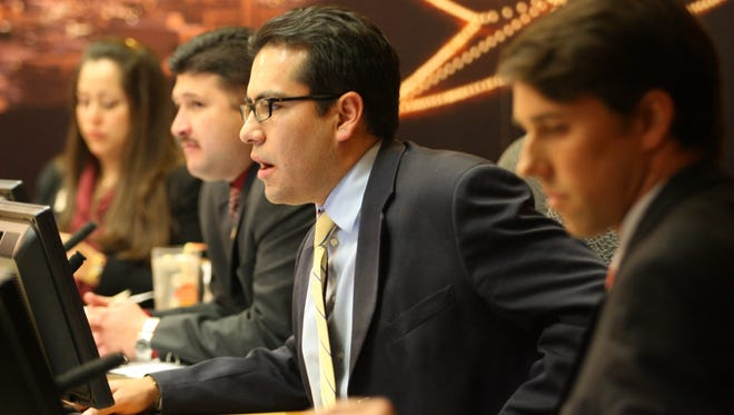 City Reps. Eddie Holguin, Steve Ortega and Beto O'Rourke listened to public comments Tuesday on the discussion over the mayor's veto on a request by the City Council for a federal debate on the legalization of drugs.