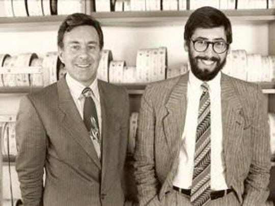 """George Folsey Jr and John Landis. Folsey will speak before a screening of """"Trading Places"""" at the Visalia Fox Theatre Thursday."""
