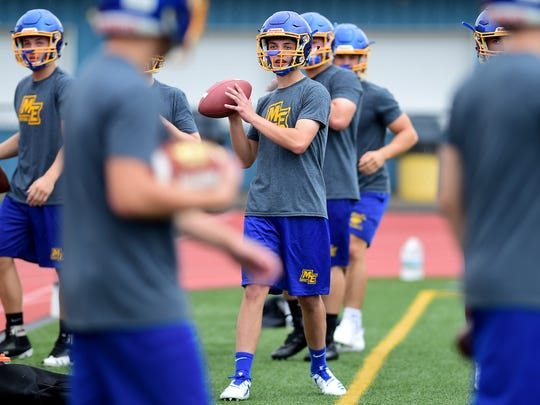 The Maine-Endwell Spartans brave the heavy rain to take to the field for the first day of football practice on Monday, August 13, 2018. Monday was the first day of practice for Section 4 fall athletic teams throughout the region.