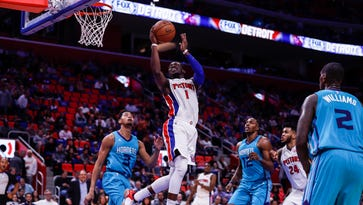 Detroit Pistons' Reggie Jackson shares in win: 'Good to have him back'