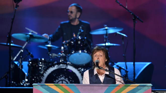 """Ringo Starr and Paul McCartney perform  during """"The Night That Changed America: A Grammy Salute to the Beatles,"""" airing Sunday."""