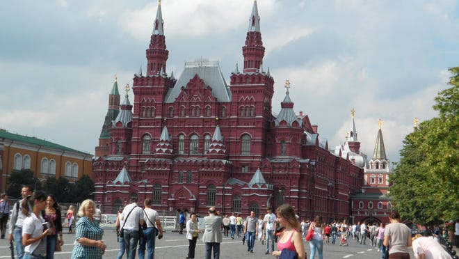The State of History Museum presides over Moscow's bustling Red Square.