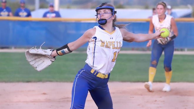 Wapello's Aliyah Lolling took over in the circle for Anesa Noa in the Arrows' 3-0 loss to Wilton in a Class 2A regional semifinal game at Wilton on Friday.