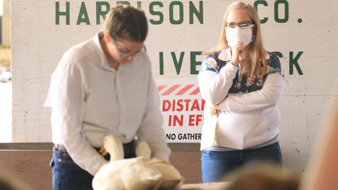 Junior Fair Board Advisor Kelsey Atkinson monitors the Market Duck Show at the Harrison County Fair in Cadiz as Hanna Tronsgard of the Silver Spurs 4-H Club exhibits her ducks. The fair runs through Friday. Photo by Sandi Thompson.