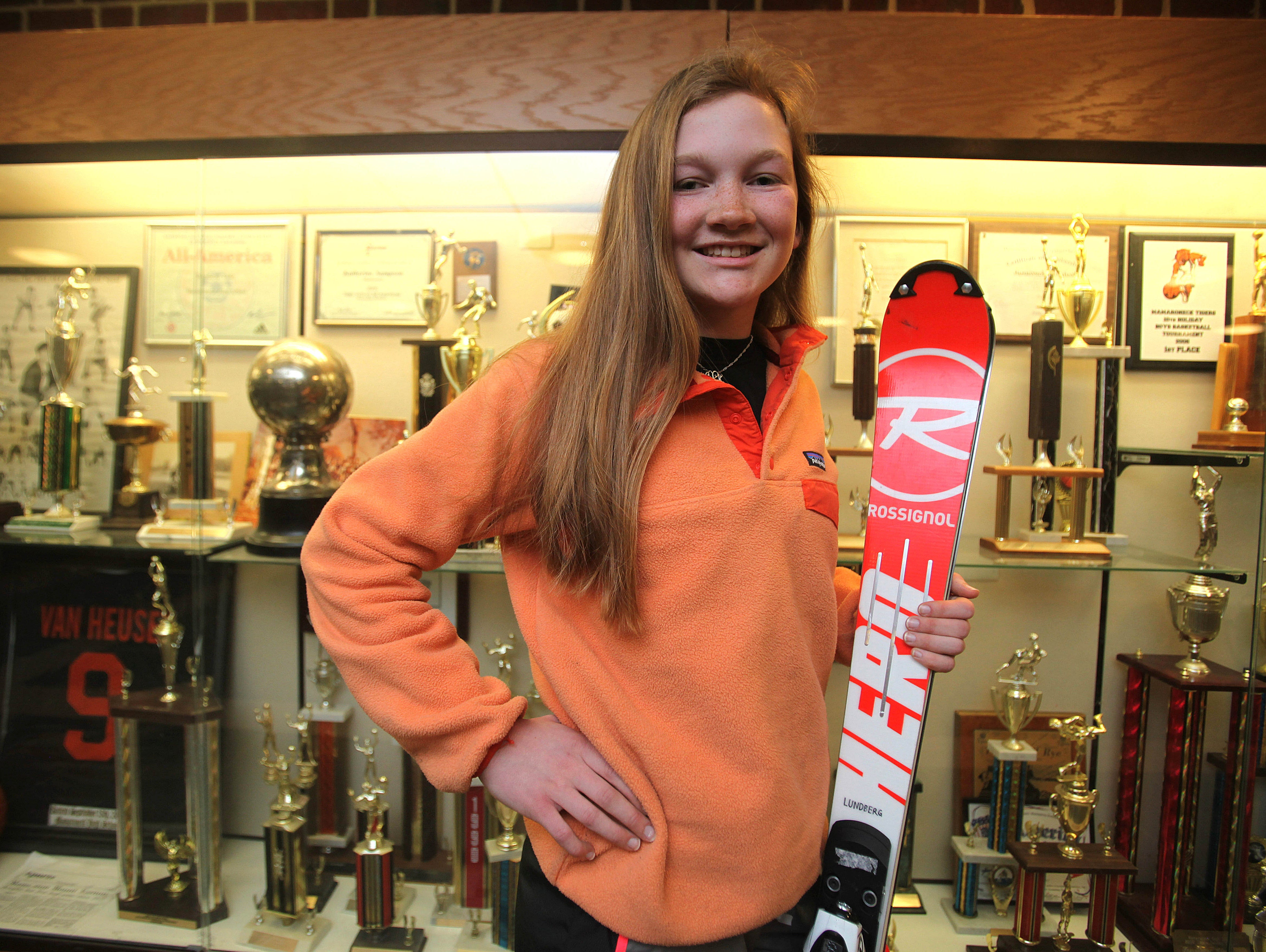 Eleanor Lundberg placed at the New York State Skiing Championship. March 17, 2016.