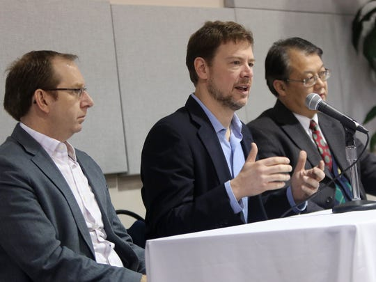 (From left) LiteCure founder Brian Pryor, along with former DuPont employees White Optics co-founder Eric Tether and Wilmington Pharmatech founder Harry Li, speak on a panel at What It Really Takes to Become an Entrepreneur, an event organized by the Small Business Development Center of Delaware.