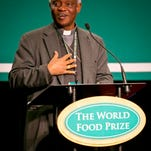 Cardinal Peter K.A. Turkson shares his thoughts during a luncheon on Thursday at the World Food Prize symposium in downtown Des Moines. He said the Catholic church supports using biotechnology to improve efforts to feed the world's poor.