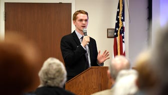 Ethan Andersen, an advocate for aid in dying, speaks to members of the Funeral Consumers Alliance of Northern New Jersey during an annual meeting held at the Parsippany-Troy Hills Public Library on Sunday. Andersen explained the philosophy, requirements and public opinion behind the Aid in Dying for the Terminally Ill Act, which he hopes will pass in New Jersey in 2018.