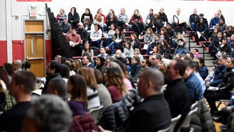 About 250 parents filled the Maywood Avenue School gym to listen to Maywood Superintendent Michael Jordan hold an info session regarding the send-receive contract dispute with Hackensack on Monday, January 29, 2018.