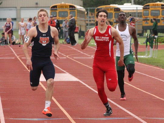Bellevue's Dakota McPeak competes in the 200 at districts.