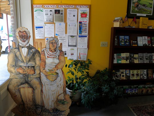 A likeness of Matthew Gardner and his wife, Henrietta, restd in the Giles County tourism office Friday, Sept. 5, 2014, in Pulaski, Tenn.