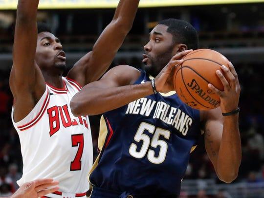 New Orleans Pelicans guard E'Twaun Moore (55)