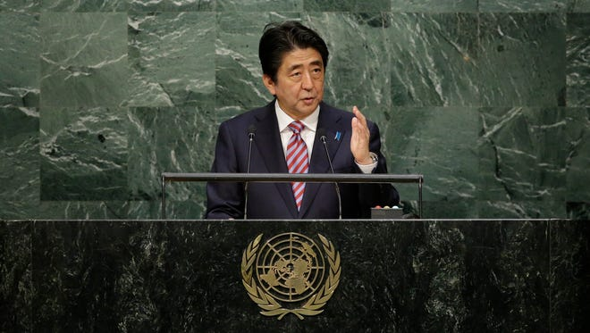 Japanese Prime Minister Shinzo Abe addresses the 70th session of the United Nations General Assembly on Sept. 29, 2015.