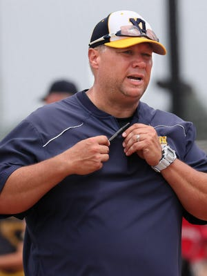 July 5, 2018 Pius XI Catholic High School plays Shorewood at The Rock Sports Complex in Franklin.  Here coach Kevin Kehoss during the game. MICHAEL SEARS/MSEARS@JOURNALSENTINEL.COM