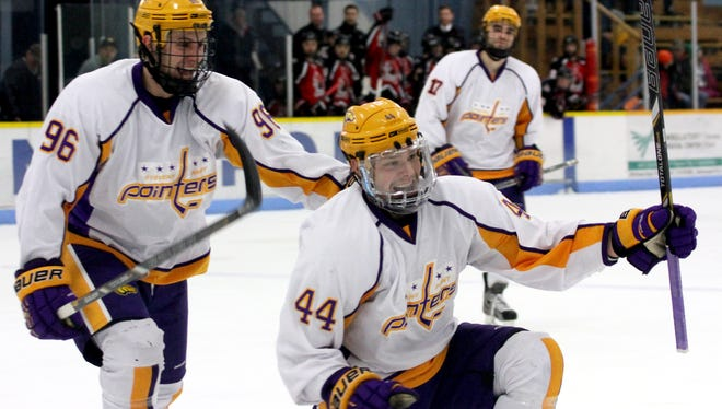 University of Wisconsin-Stevens Point senior Joe Kalisz (44), who leads the team in scoring with 40 points, is celebrating the Pointers third consecutive trip to the NCAA Division III tournament. UWSP received an at-large bid Monday