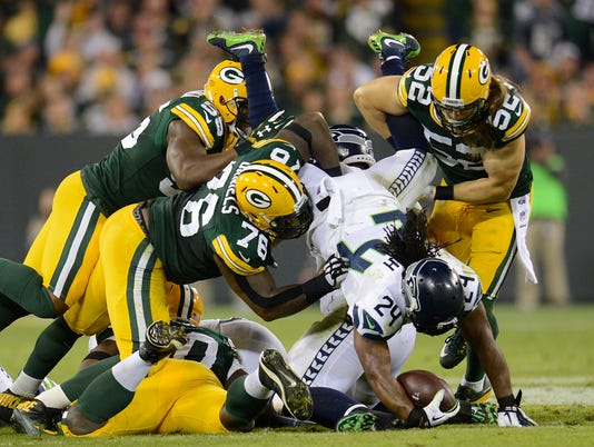 Andy Mulumba, Marshawn Lynch, Clay Matthews, Mike Daniels